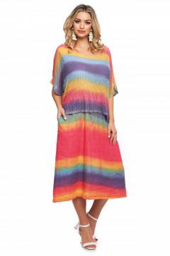 Rochie corai multicolora din in