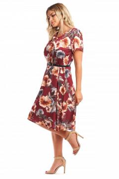 Rochie de zi bordo cu imprimeu floral