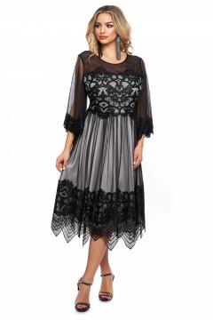 Rochie eleganta gri din tull si broderie aplicata