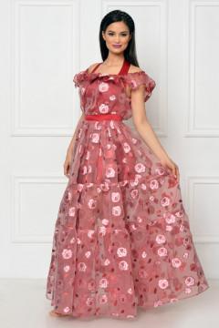 Rochie lunga de ocazie organza brodata rosie