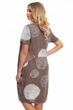 Rochie maro din in cu desene
