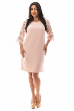 Rochie midi cu maneci din dantela roz pudra