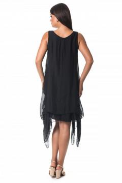 Rochie neagra din vascoza in colturi
