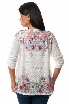 Bluza alba cu flori & broderie