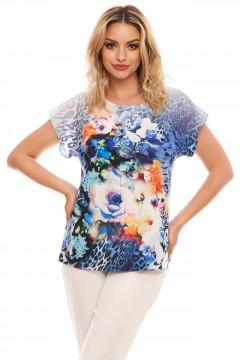 Bluza din vascoza cu imprimeu albastru aquamarin