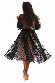 Rochie de ocazie din tulle cu buline din catifea