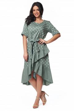 Rochie de zi asimetrica verde cu buline
