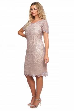 Rochie eleganta roz-prafuit din tull brodat