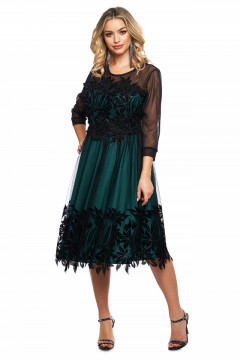 Rochie eleganta verde din tull si dantela