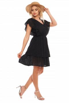 Rochie neagra din bumbac brodat si elastic in talie