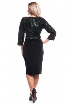 Rochie neagra din catifea cu paiete verzi
