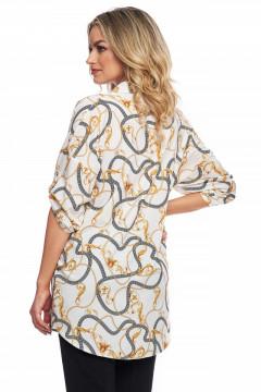 Bluza alba cu imprimeu cu lanturi