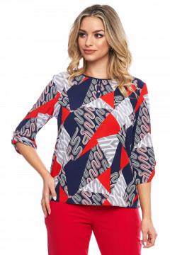 Bluza bleumarin cu print rosu si gri