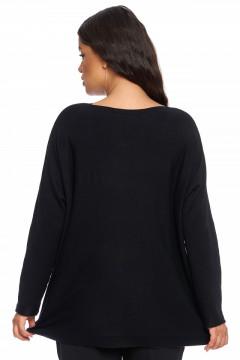 Pulover negru stil tunica cu buzunare