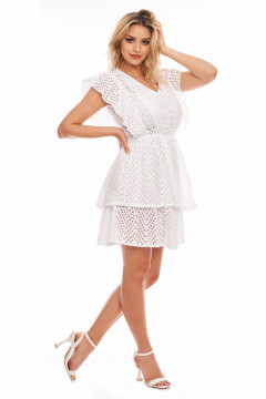 Rochie alba din bumbac brodat si elastic in talie