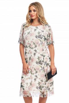 Rochie alba din tull elastic imprimat