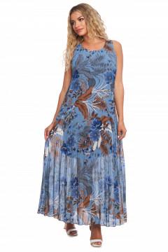 Rochie albastra cu imprimeu floral din voal plisat in forma de A