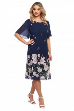 Rochie bleumarin din voal cu print floral