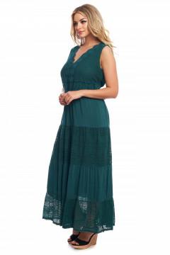Rochie lunga verde-smarald din vascoza si dantela