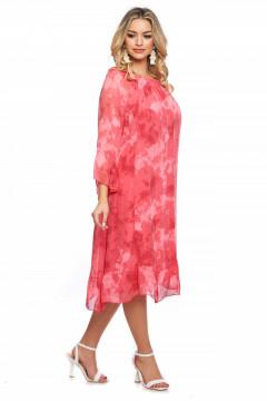 Rochie midi corai din vascoza naturala
