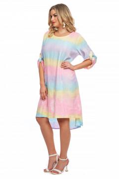 Rochie multicolora din in