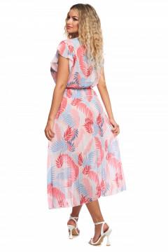 Rochie roz din voal cu bust petrecut si fusta plisata