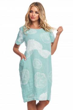 Rochie turquaz din in cu desene