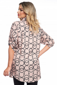 Bluza bej cu imprimeu cu cercuri