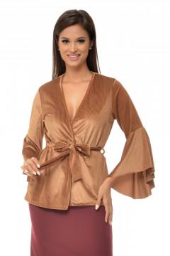 Bluza catifea maro & cordon