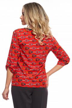 Bluza rosie cu print cu lanturi