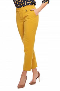 Pantaloni eleganti mustar cu buzunare