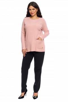 Pulover roz-prafuit stil tunica cu buzunare si manseta