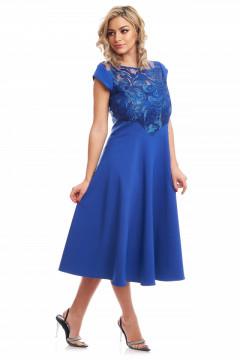 Rochie eleganta albastra din tafta si dantela brodata