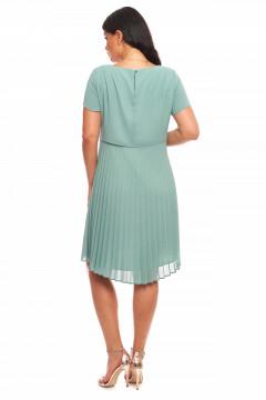 Rochie eleganta din triplu-voal mediu-turquaz cu pliseu la spate