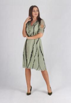 Rochie in clos verde-olive cu cordon
