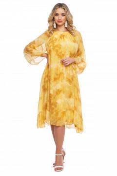Rochie lunga mustar din vascoza naturala