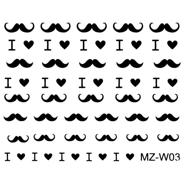 Abtibilde Unghii Mustati Negre, MZ-W03 (Abtibilduri Unghii - Tatuaje Unghii - Nail Stickere) imagine produs