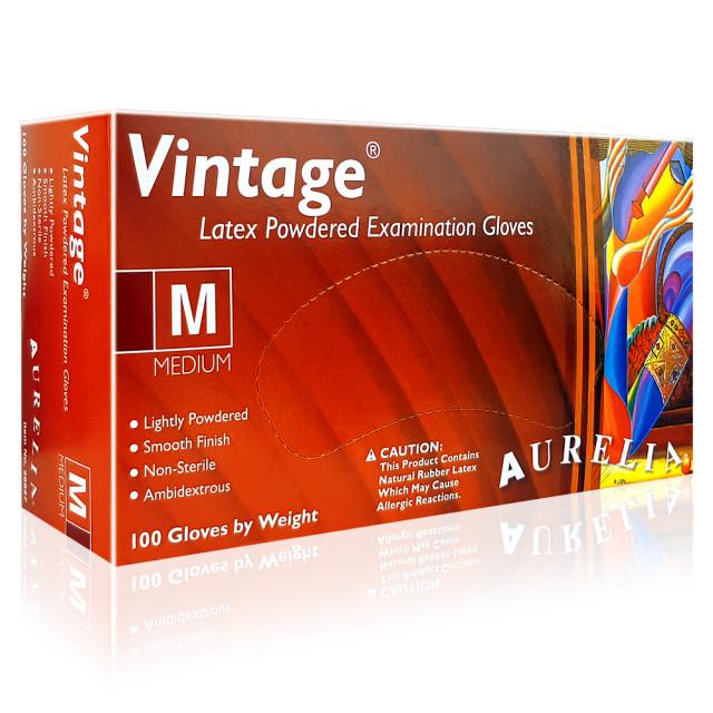 Manusi Examinare Latex Usor Pudrate Aurelia® Vintage® Alb Bej Cutie 100 Buc. imagine produs
