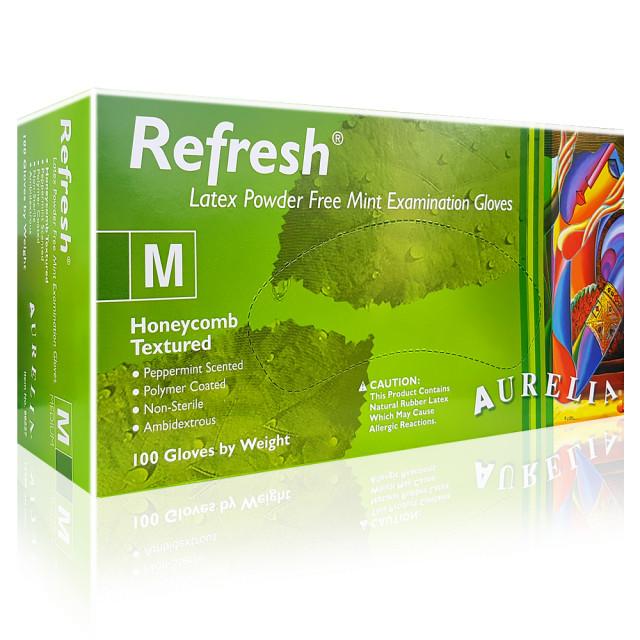 Manusi Latex Nepudrate Mentolate Aurelia® Refresh® 100 Buc imagine produs