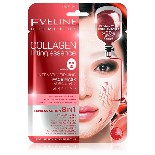 Masca de Fata pentru Ten Matur si Sensibil 8in1 Eveline Cosmetics Collagen Lifting Essence imagine produs