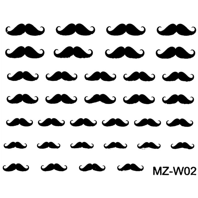 Abtibilde Unghii Mustati Negre, MZ-W02 (Abtibilduri Unghii - Tatuaje Unghii - Nail Stickere) imagine produs