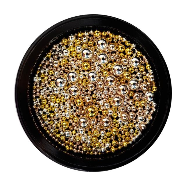 Bilute Caviar Unghii, Marimi Diferite, Auriu si Argintiu imagine produs