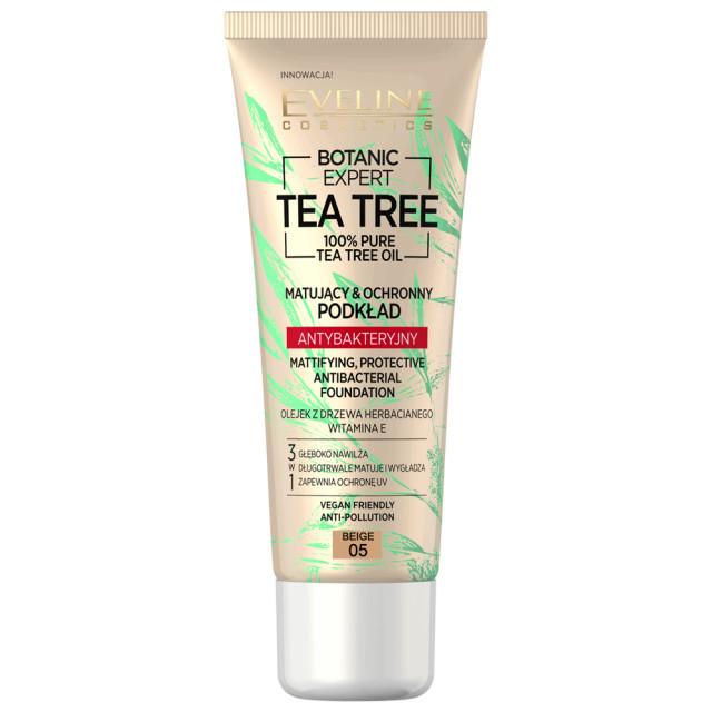 Fond de Ten cu Protectie Antibacteriana Vegan 100% Pure Tea Tree Oil Eveline Cosmetics 05 Beige imagine produs