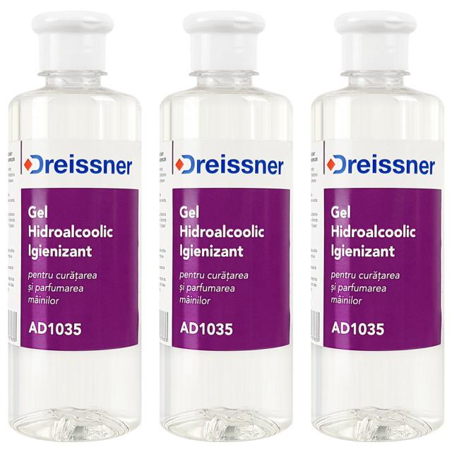 Kit Ingrijire Igienica Gel Hidroalcoolic Igienizant Dreissner 3 Buc x 500 ml imagine produs