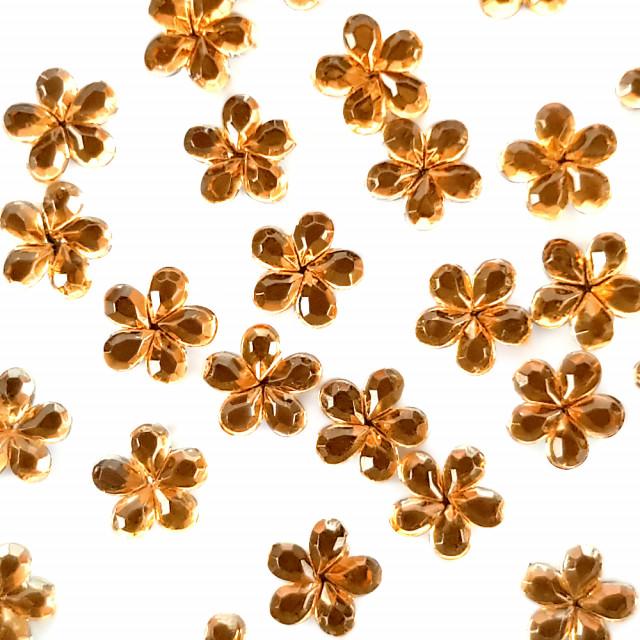 Strasuri Unghii Pietricele Flori Culoare Auriu, Pietre Decorative Manichiura imagine produs