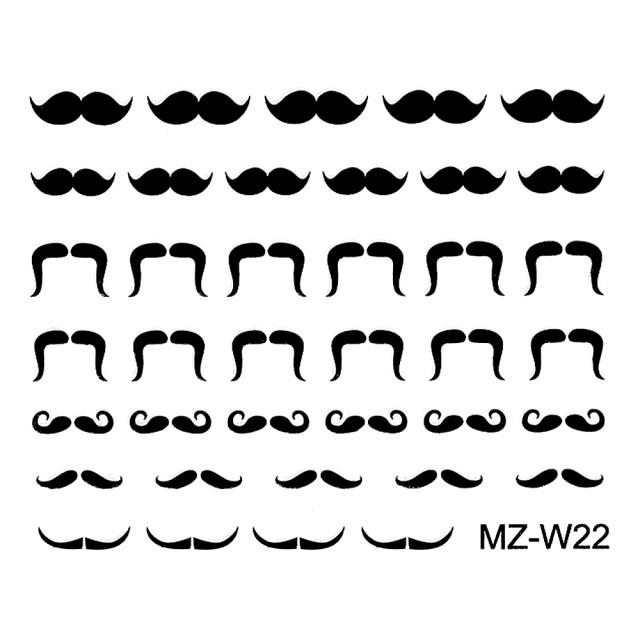 Abtibilde Unghii Mustati Negre, MZ-W22 (Abtibilduri Unghii - Tatuaje Unghii - Nail Stickere) imagine produs