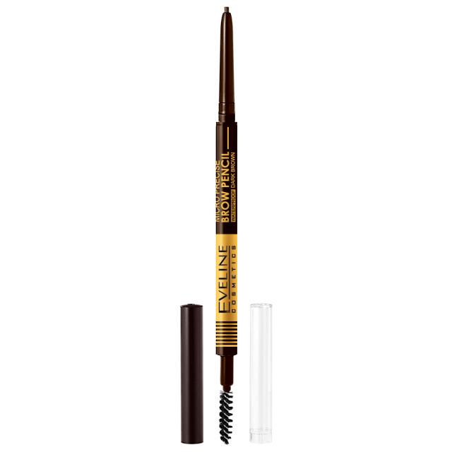 Creion cu Perie Sprancene Eveline Cosmetics Micro Precise Brow Pencil, Culoare Dark Brown imagine produs