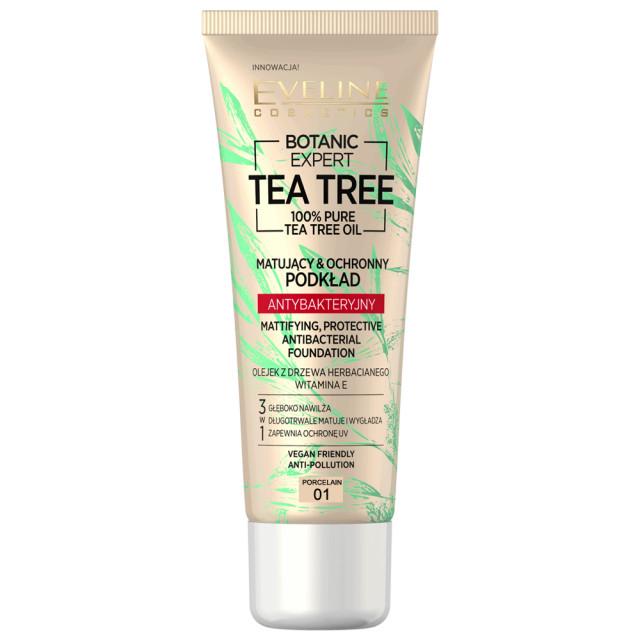 Fond de Ten cu Protectie Antibacteriana Vegan 100% Pure Tea Tree Oil Eveline Cosmetics 01 Porcelain imagine produs