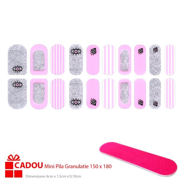 Abtibilde Unghii JY 113, Stickere Manichiura 20 Buc. + Cadou Mini Pila imagine produs