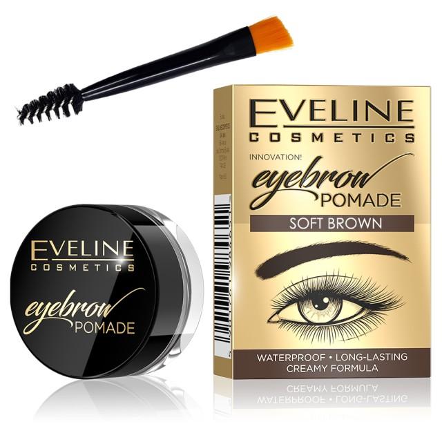 Fard Sprancene Eveline Cosmetics Eyebrow Pomade, Soft Brown imagine produs